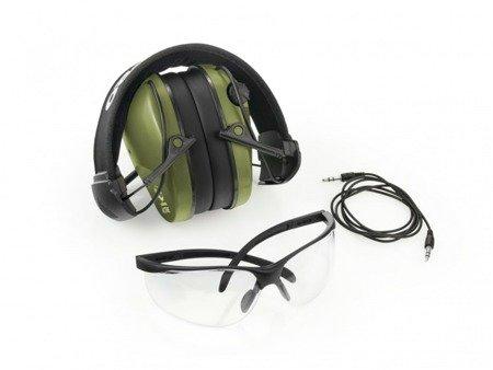 Aktywne ochronniki słuchu RealHunter ACTiVE Pro oliwkowe + okulary ochronne
