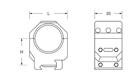 Dwuczęściowy montaż optyki Audere ADVERSUS D 34mm H 34mm 0 MOA