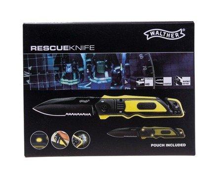 Nóż składany ratowniczy Walther Emergency 440 - żółty